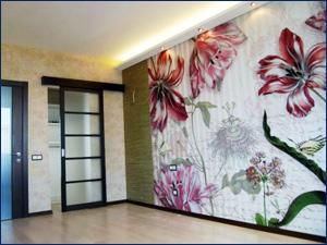 Фотообои с цветком в комнате, фото