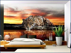 Фотообои с рисунком леопарда для кухни или комнаты